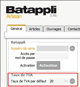 changement taux tva menu outils